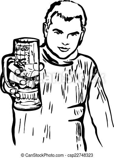 Un tipo con un vaso de cerveza - csp22748323