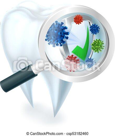 El concepto de aumento de dientes de bacterias de vidrio - csp53182460