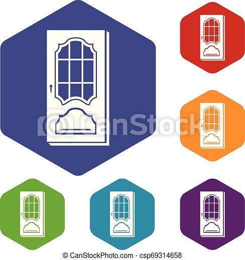Puerta con iconos de vidrio vector hexahedron - csp69314658