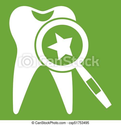 Dientes con lupa verde icono - csp51753495