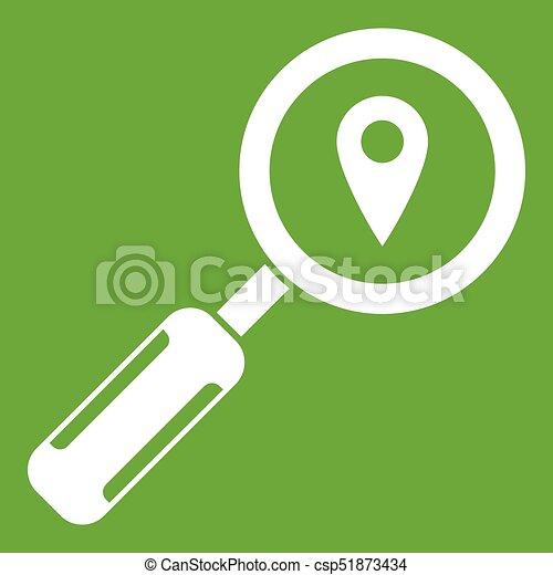 Ampliando el vidrio y el icono verde - csp51873434