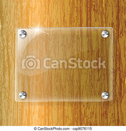 Una placa de vidrio en el fondo de madera - csp9076115