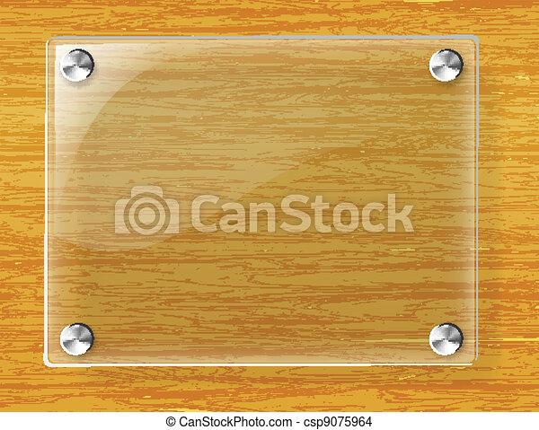 Una placa de vidrio en el fondo de madera - csp9075964