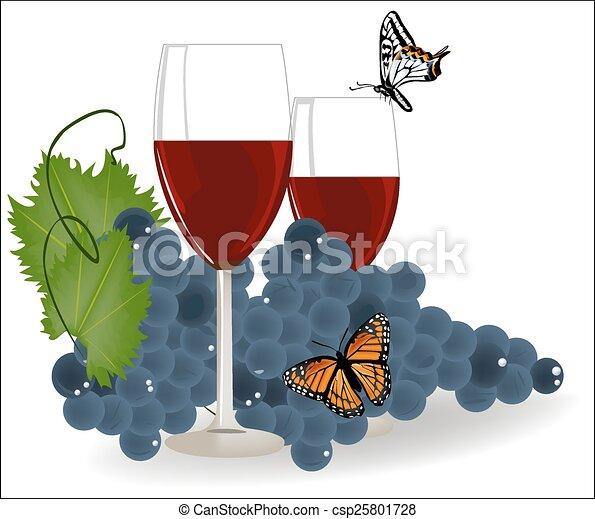 Uvas con una copa de vino tinto y mariposas - csp25801728
