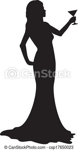 Una chica silueta con copa - csp17650023