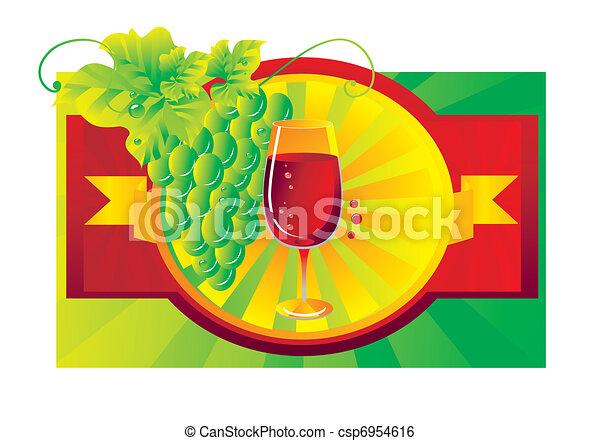 Vignette con una copa de vino tinto - csp6954616