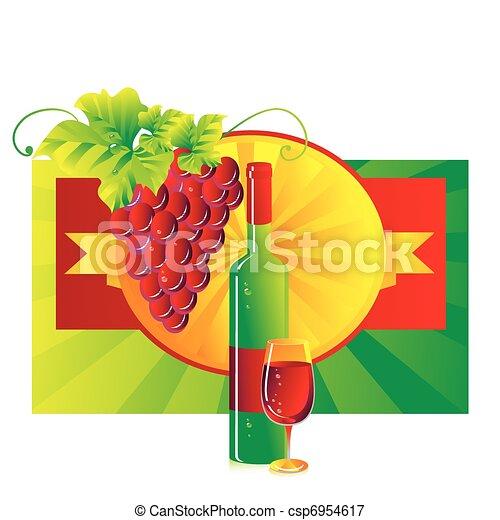 Vignette con una copa de vino tinto - csp6954617