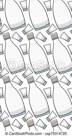 vidrio, seamless, botella, patrón, vodka - csp75314725