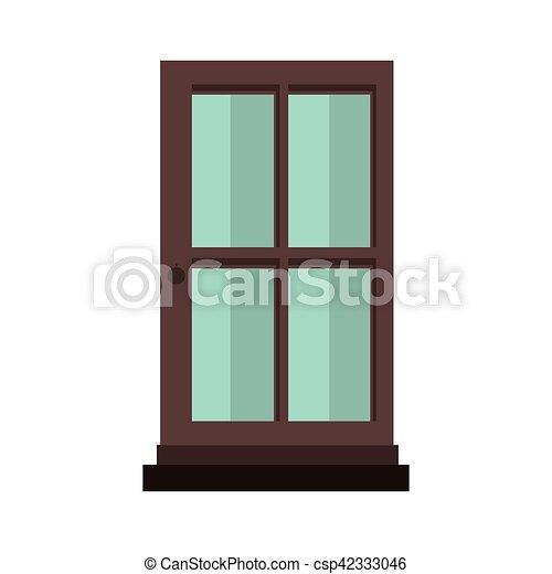 Silueta colorida con puerta de madera y vidrio - csp42333046