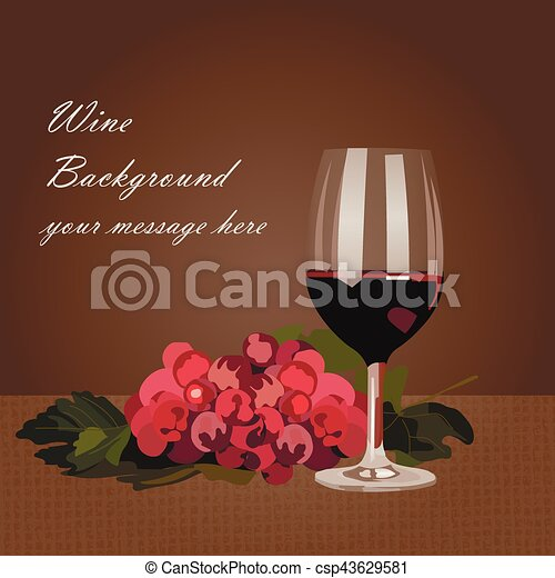 Un vaso de vino tinto con uvas - csp43629581