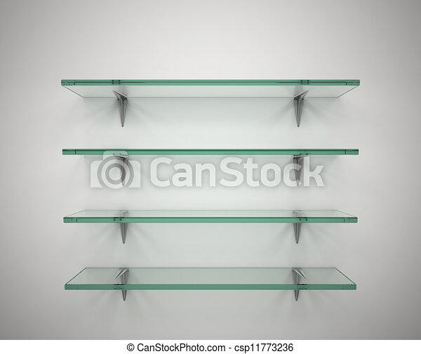 Vidrio vaco estantes Vidrio 3d vaco ilustracin estantes
