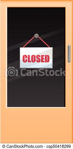 Puerta de vidrio con vector cerrado - csp50418299