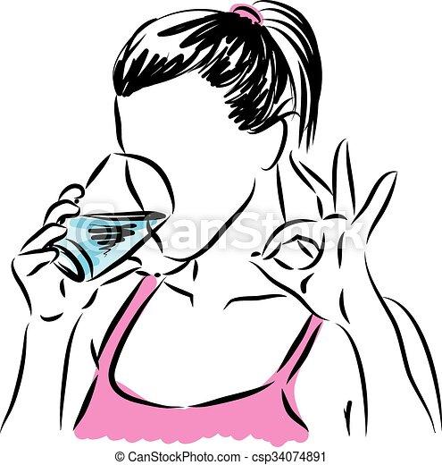 vidro água, bebendo, mulher, illus - csp34074891