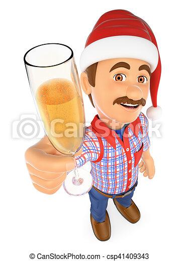vidro, brindar, champanhe, trabalhador, 3d - csp41409343