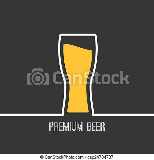 vidro, cerveja, amarela, líquido - csp24704737