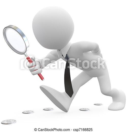 vidro, homem negócios, magnificar - csp7166825