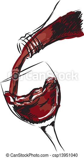 vidro, ilustração, vinho - csp13951040