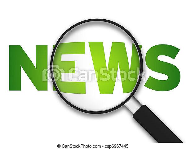 vidro, -, magnificar, notícia - csp6967445