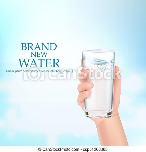 vidro, segura, water., mão - csp51268365