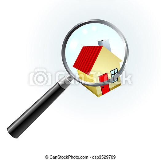 vidro, sob, magnificar, casa - csp3529709