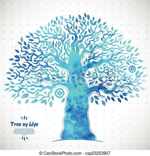 vie, arbre, aquarelle, vecteur, ethnique, unique - csp23253907