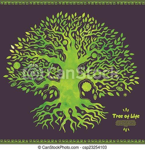 vie, arbre, aquarelle, vecteur, ethnique, unique - csp23254103