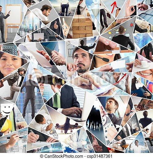 vie, business, collage - csp31487361