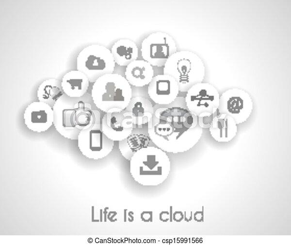 vie, concept, réseau, reference., social, nuage - csp15991566
