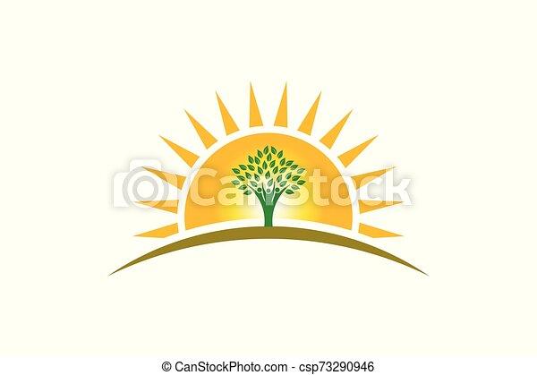 vie, famille, gens, trois personnes, soleil, logo., arbre, fort - csp73290946
