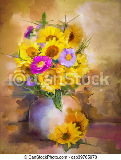 Vie fleurs tournesol bouquet aster jaune aquarelle illustrations de stock rechercher - Bouquet de tournesol ...