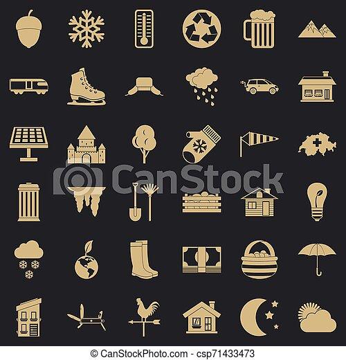 vie, icônes, ensemble, pays, style, simple - csp71433473