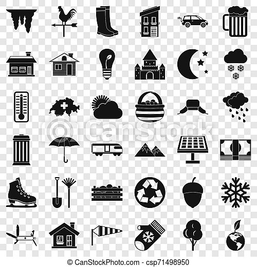 vie, icônes, ensemble, pays, style, simple - csp71498950