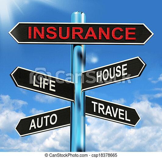 vie, moyens, maison, voyage, assurance automatique, poteau indicateur - csp18378665