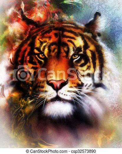 Vie sauvage collage r sum ornamet couleur tigre fond - Mandalas de tigres ...