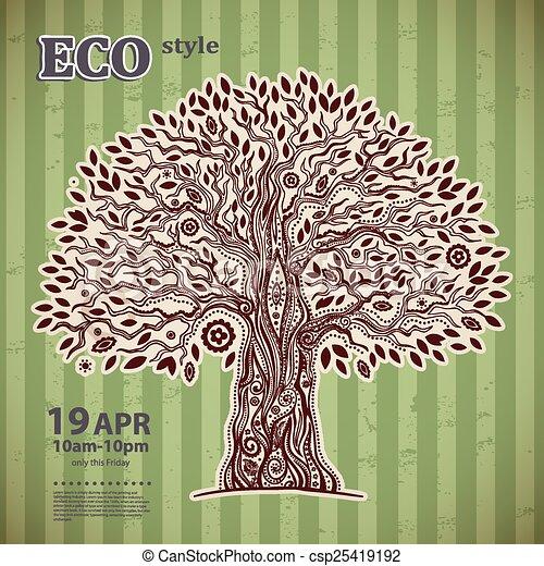 vie, unique, arbre, ethnique - csp25419192