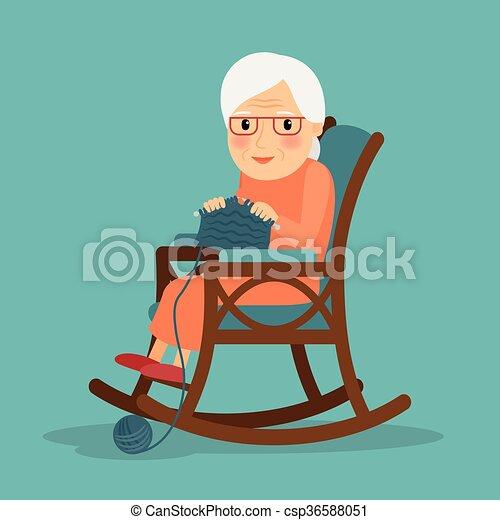 vieille femme, tricot - csp36588051