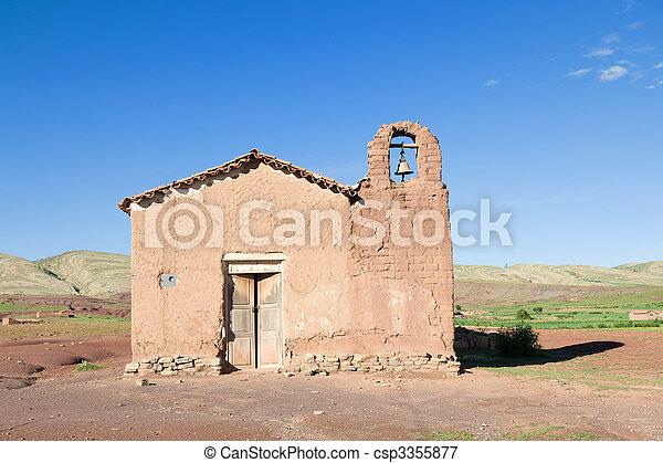 viejo, adobe, iglesia - csp3355877
