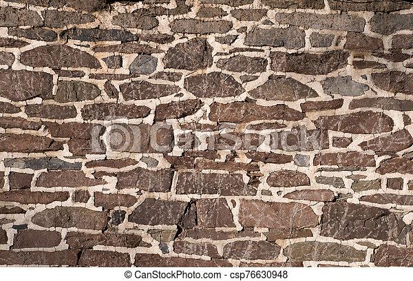 viejo, albañilería, utilizar, pared, irregular, piedras - csp76630948
