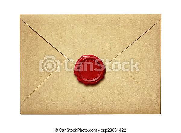 viejo, cera, sobre, aislado, sello, correo - csp23051422