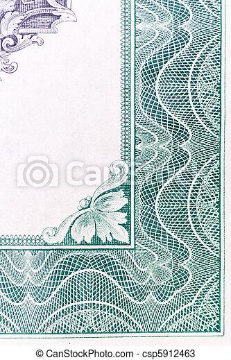 viejo, certificado, estados unidos de américa, patrón, hoja, frontera, acción - csp5912463