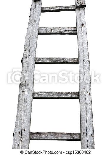 Una vieja escalera de madera de cuve aislada sobre el blanco - csp15360462