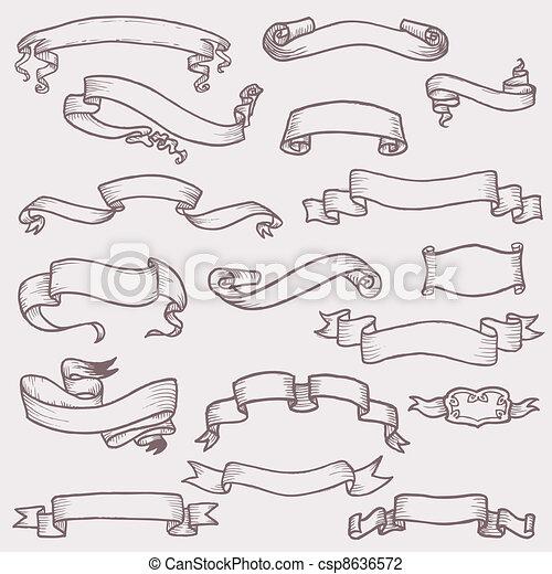 La vieja estandarte de cintas para decoración, álbum de recortes y diseño en vector - csp8636572