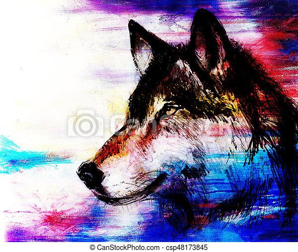 Viejo Effect Mano Papel Lobo Draw Dibujo Original Color