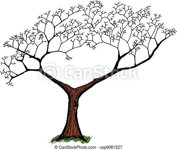 Ilustracin vectorial de viejo encima rbol blanco  Cartoon