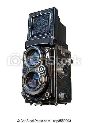 viejo, lente, gemelo, cámara, negro, reflejo - csp8550903