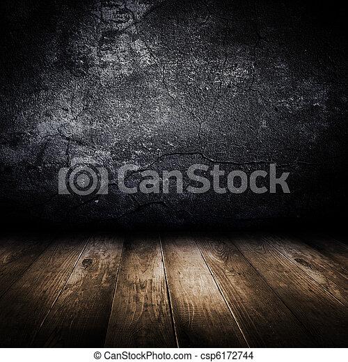 Vieja pared de hormigón y piso de madera. Diseño de plantilla. - csp6172744