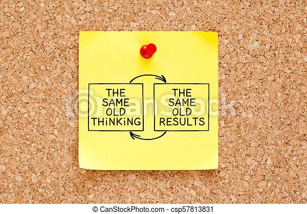 El mismo pensamiento de siempre la misma nota pegajosa - csp57813831