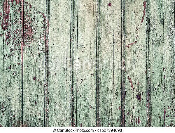 Vieja y rústica pintada textura verde turqouise de madera - csp27394698