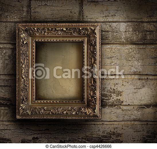 viejo, pintado, peladura, marco, contra, pared - csp4426666