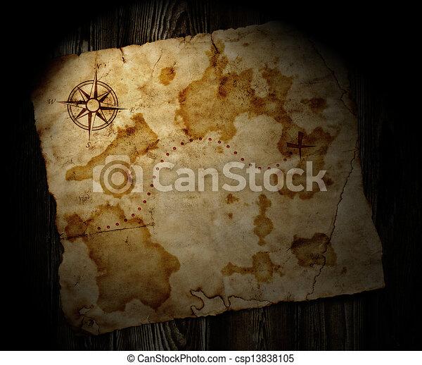 El viejo mapa del tesoro de madera - csp13838105